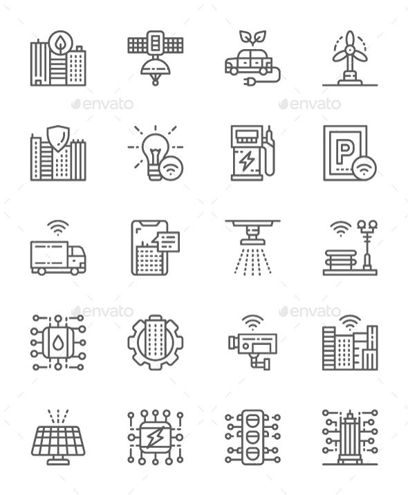 Set Of Smart City Line Icons Pack Of 64x64 Pixel Icons Line Icon Smart City Pixel
