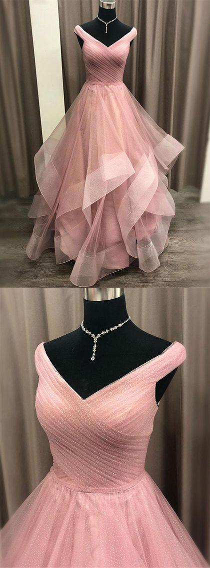 Gorgeous A Line Off the Shoulder Pink Long Prom Dresses with Ruffles