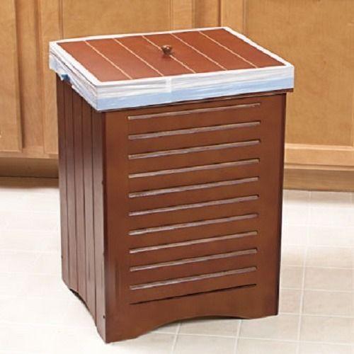 Decorative 30 Gallon Wooden Kitchen Trash Garbage Bin Can