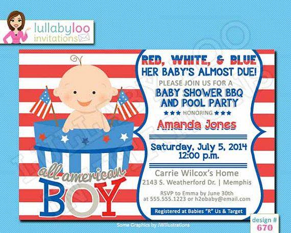 4th of july baby shower invitations baby boy 670 by lullabyloo red