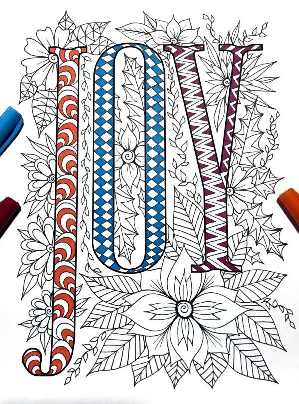 7 Beautiful WORD Coloring Pages & FREE Zentangle Templates | God and ...