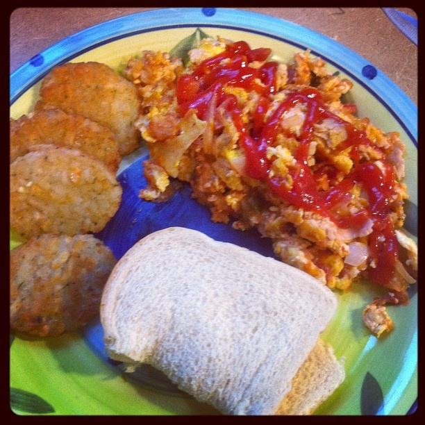 Spanish Scramble with Baby Browns and Toast