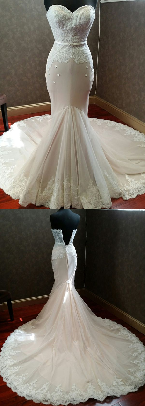 Fabulous Tulle & Organza Sweetheart Neckline Mermaid Wedding Dresses With Lace Appliques