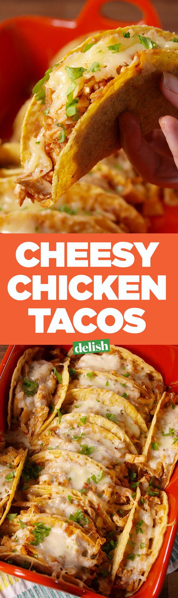 Cheesy Chicken Tacos = easiest way to serve a hungry crowd in minutes. Get the recipe on Delish.com.