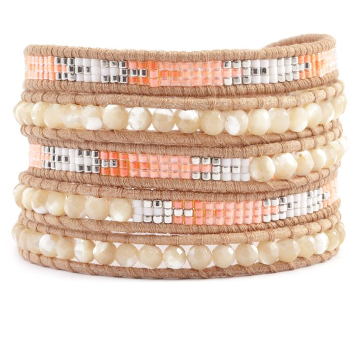 Chan Luu - Natural Mother of Pearl and Bead Wrap Bracelet on Beige Leather. Found all these beauties thanks to my stylish mother in law :-)