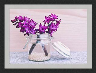 hyacinth art is beautiful any time of year but especially great when used as spring wall art or summer wall decor.  Hyacinths are pretty and charming and perfect decorative accents for bedrooms, living rooms and bathrooms.  Also great for offices and dens.  Hyacinth floral wall art is rare and truly some of the best unique flower home wall art decor Hyacinth Flowers in Jar Framed Wall Art Wall Picture Frames Wall Decor Pictures for Living Room Bedroom Office 30x40 cm