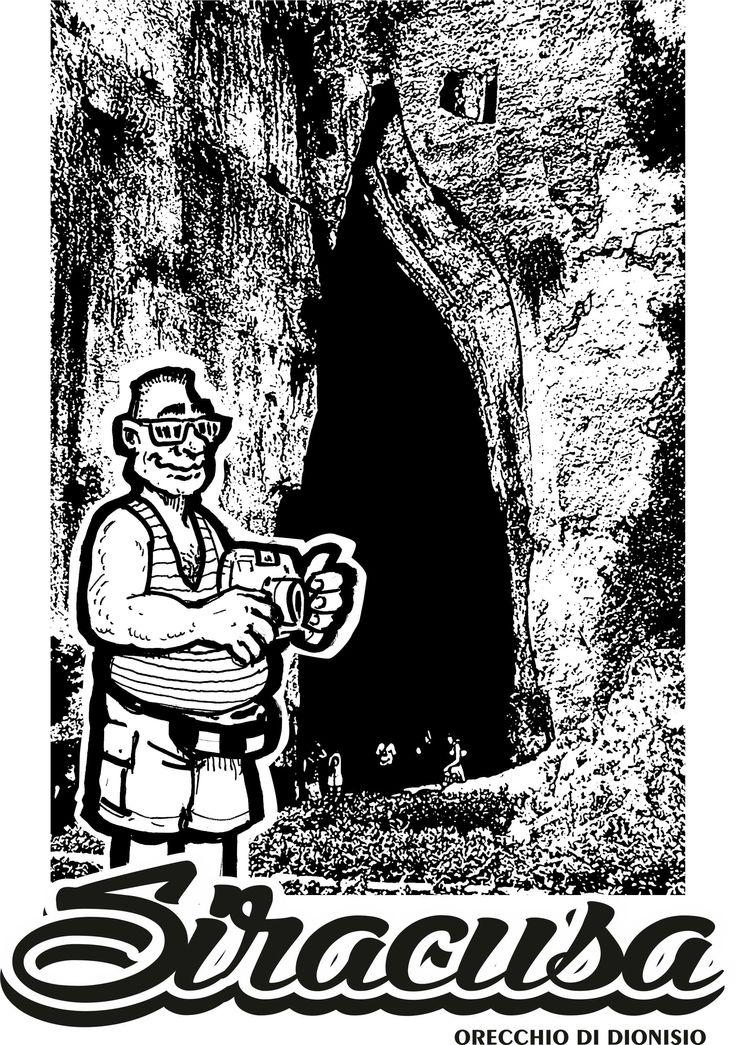 Orecchio di Dionisio Siracusa . immagine con turista fotografo