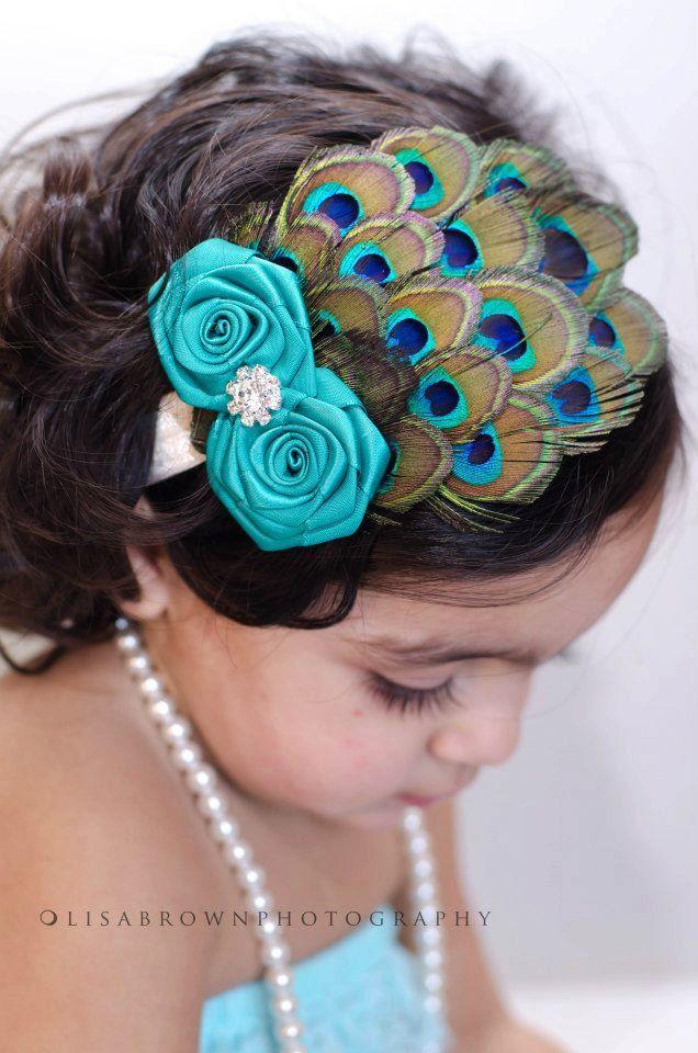 Baby headband - Infant Headband - Newborn Headband - Toddler Headband -photography prop-Peacock headband - feather headband. $18.00, via Etsy.