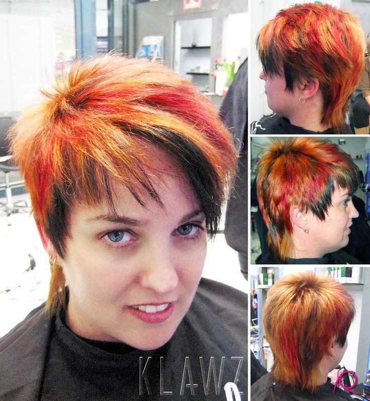 Funky Coloured Hair - Copper/Orange, Red & Black Panels