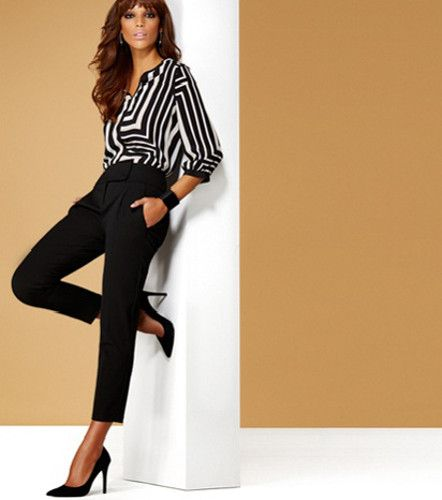 Classic B&W - flowy blouse and 3/4 skinny dress pants (H&M & Winners)