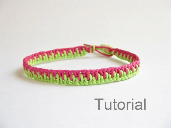 Knotted bracelet photo tutorial pattern pdf pink green jewelry step by step instructions makrame micro diy tuto how to instant download easy