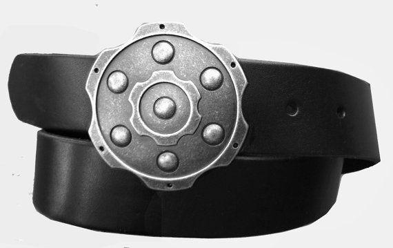Ceinture cuir avec boucle de baril de pistolet par StaghoundLeather