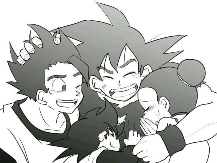 Goku, Milk, Gohan and Goten