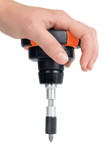 Easy Grip Screwdriver -particularly useful for those with arthritis or other joint and strength deficits.  You use the large muscles of the forearm when using this design as opposed to the smaller and weaker muscles of the hand and fingers ($7) HANDLE CONTAINS MULTIPLE DRIVER BITS; CAROL WRIGHT; (TAG: HOME AID; ADAPTIVE GRIP DEVICE; HOUSEHOLD TOOL; DISABILITY AID; FOR SALE; LINK=>STORE)