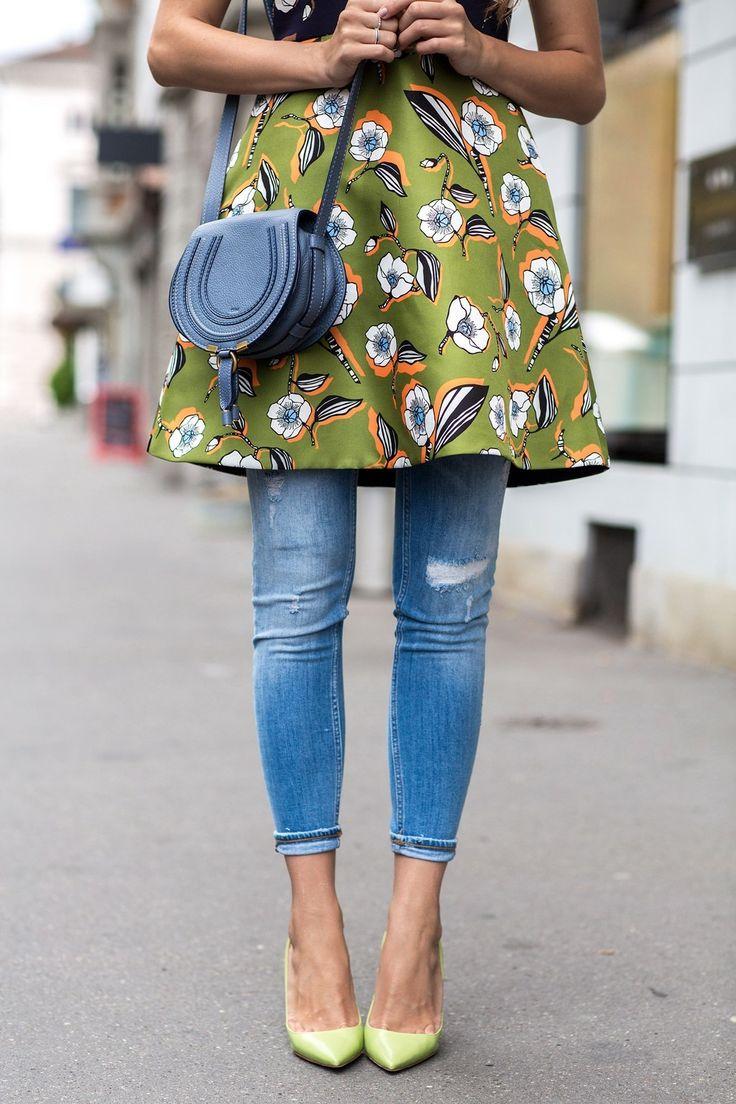 Pair a summer dress with jeans for a stylish, avant garde look //dress by Sportmax Code,  LTB jeans, green Prada heels, & Chloé handbag// photo by anja gasser khttp://schuschublog.com/) // #chloe #prada #summer #dress #heels #jeans || Pinterest: cheribwatson 👑⚘🖤
