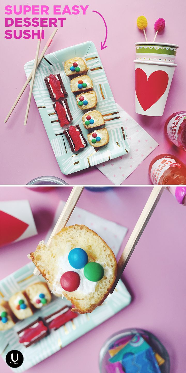 When your period craving strikes and all you have is candy, twinkies, and swiss cake rolls… make super easy, no big deal dessert sushi. Simply slice the twinkies into bites. Top with mini M&Ms! Slice the swiss cake rolls long-wise and top with a Swedish fish. BOOM. Dessert sushi! Easy as that!