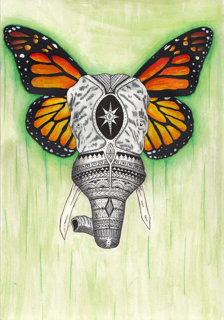 #12 Elephant- Pen, watercolors and acrylics