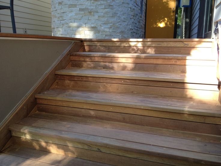 Ipe Deck- Stair risers and side skirt are 5/4 ipe siding. Treads are 5/4 decking