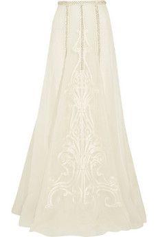 Temperley London Crivelli embellished embroidered silk-organza maxi skirt | NET-A-PORTER