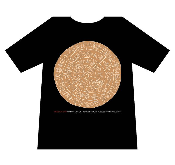 Greek culture T-shirt, Phaistos disc, T-logos, Ancient Greece, T-shirts, mediterraneo editions, www.mediterraneo.gr
