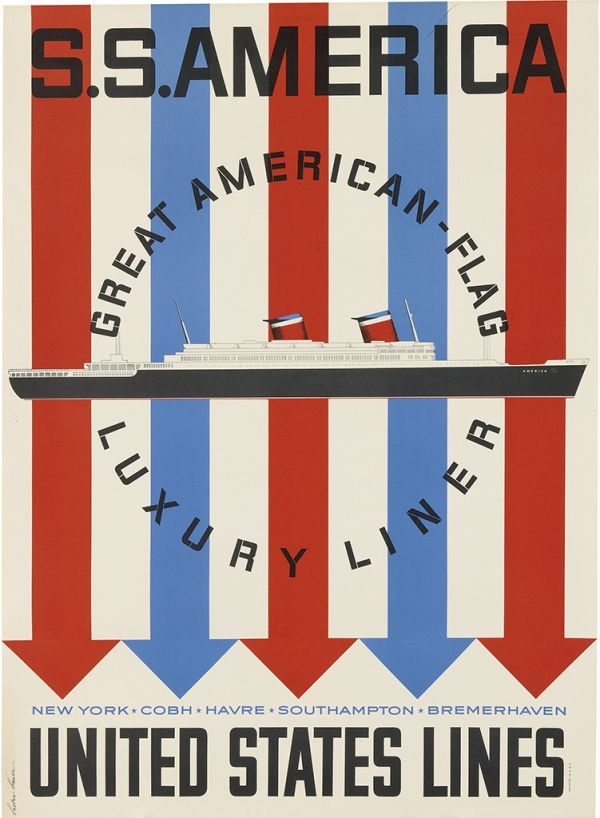 S.S. AMERICA - United States Lines - Record-Breaking Transatlantic Service - Vintage Travel Poster - 1950s