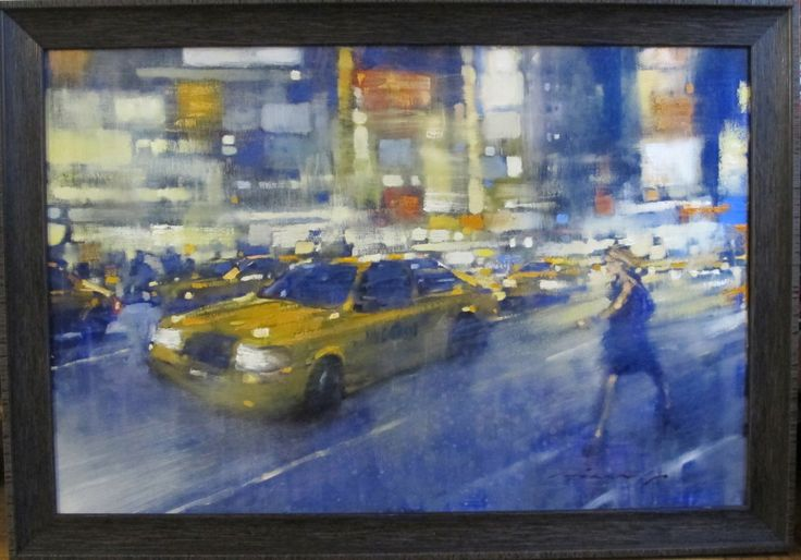 "David Hinchliffe - Works - New York  ""Racing Down Broadway"" Oil on canvas.  24""x 36"""