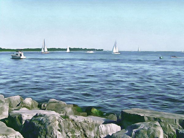Summer Days On Lake Ontario Art Print by Leslie Montgomery.