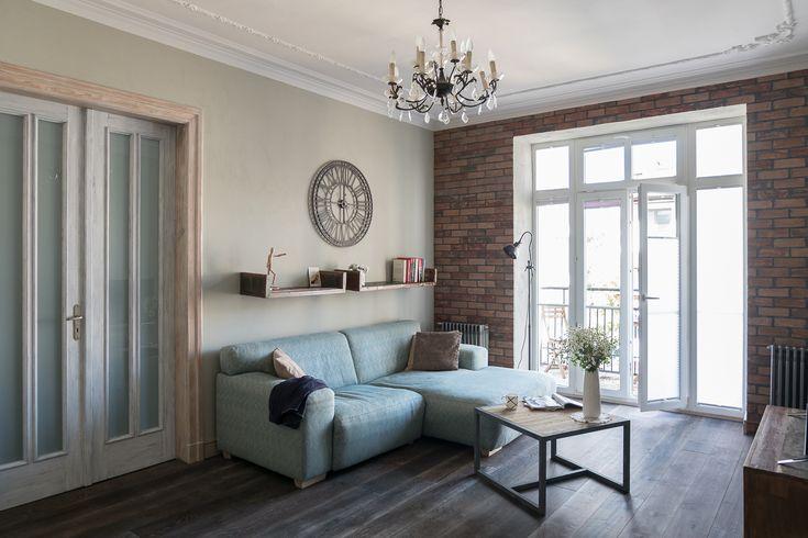 Apartament na Mokotowie- salon - tryc.p #shabby #chic #living #room #interior