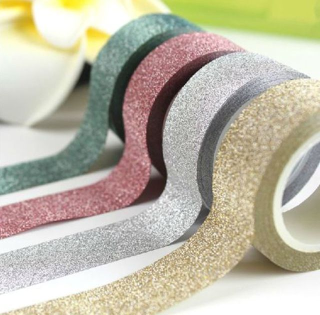 5M DIY Self adhesive Glitter Washi Paper Tape Sticker Wedding Birthday Festival Decoration Home Decor-in Event & Party Supplies from Home, Kitchen & Garden on Aliexpress.com | Alibaba Group