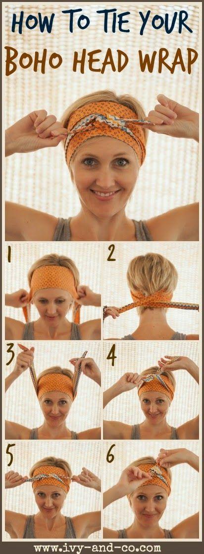 How to tie a boho bohemian head wrap band turban style