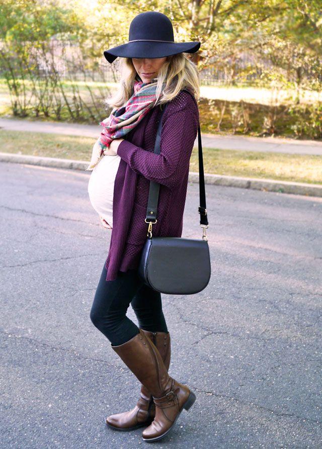 Fall maternity style - Old Navy maternity tee, Liz Lange for Target maternity leggings plus regular burgundy cardigan, floppy hat and plaid scarf ($9 at Walmart!)