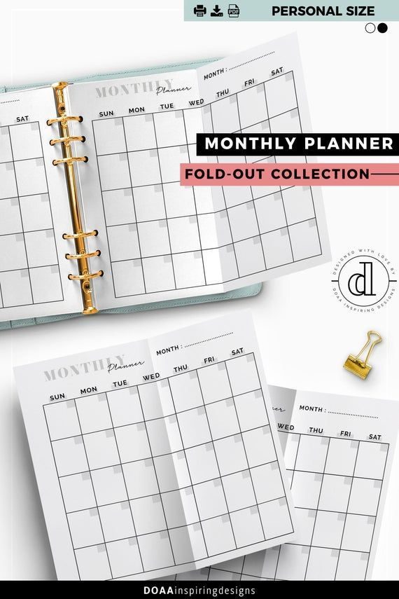 Blank Monthly Planner Printable Fold Out Insert For Personal