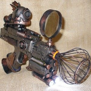 Steampunk gun TESLA Victorian scifi pistol APOCALYPTIC cyber