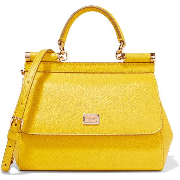 Dolce & Gabbana Sicily small textured-leather shoulder bag (€1.635) ❤ liked on Polyvore featuring bags, handbags, shoulder bags, bolsas, yellow, print purse, shoulder hand bags, snap purse, yellow shoulder bag and shoulder bag purse