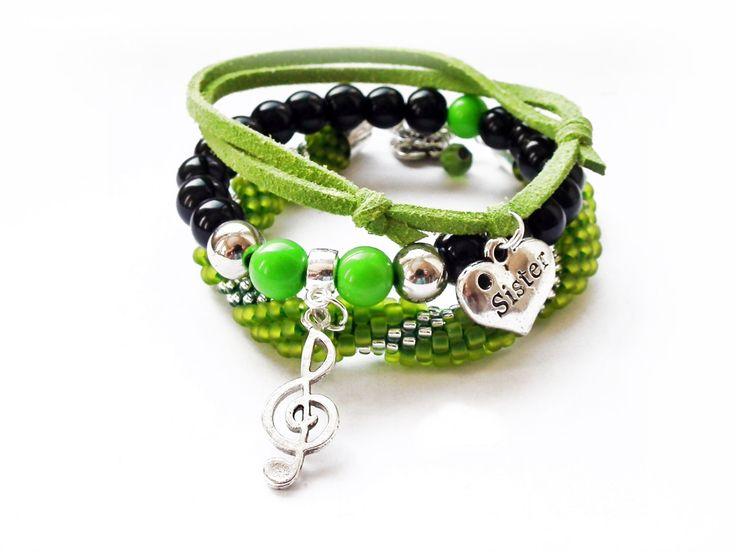 Set of 3 bracelets green - black Beadwork Charm bracelets Sister bracelet Summer Fashion Friendship Bracelets Beads bracelet Gift for her by MadeByJoLis on Etsy