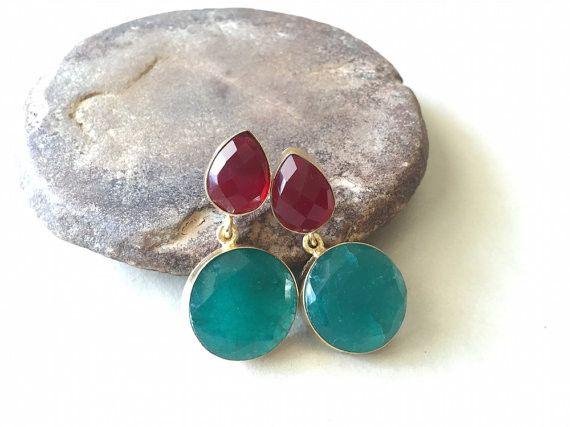 Ohrhänger - Pine Grüne und rote Glasohrringe der Türkei - ein Designerstück von EnharaJewels bei DaWanda