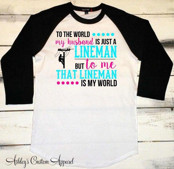 Lineman Wife Shirt, Linemen, Lineman Tshirts, I Love My Lineman, Power Lineman Shirts, I Love My Husband, Proud Wife, Baseball Tee Lineman  by AshleysCustomApparel