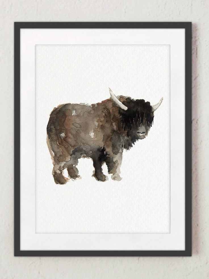 Yak Watercolor Painting, Wildlife Poster Kids Wall Decor, Tibetan Animals Fine Art Print, Asian Animal Illustration, Brown Home Decor by ColorWatercolor on Etsy