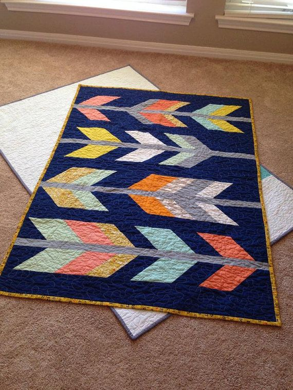 "Arrow feather quilt pattern. - Test Run! PDF download. Finishes 45"" x 60"". 45 degree angled pieced chevrons to make the feathers. Love it!"