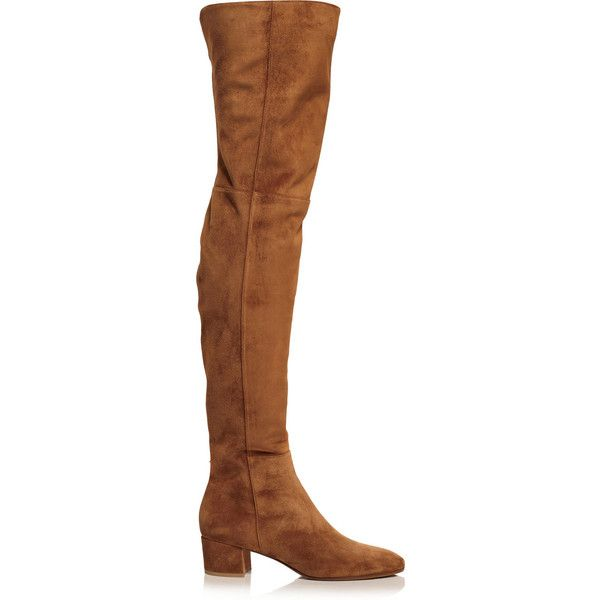 Gianvito Rossi Suede over-the-knee boots (23.976.025 IDR) ❤ liked on Polyvore featuring shoes, boots, gianvito rossi, brown, brown boots, thigh high boots, brown over the knee boots, fold-over boots and suede boots