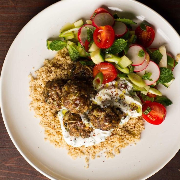 Lamb Koftas with Couscous, Salad and Sumac Yoghurt Dressing