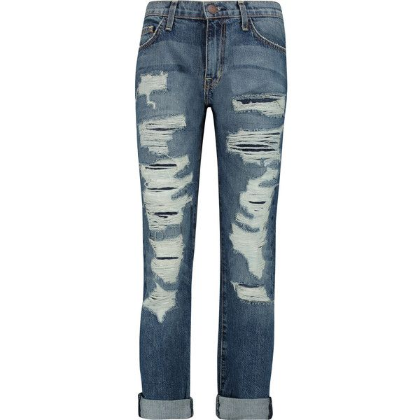 Current/Elliott The Fling distressed mid-rise boyfriend jeans ($175) ❤ liked on Polyvore featuring jeans, blue, distressed jeans, ripped blue jeans, loose fit jeans, faded blue jeans and boyfriend jeans