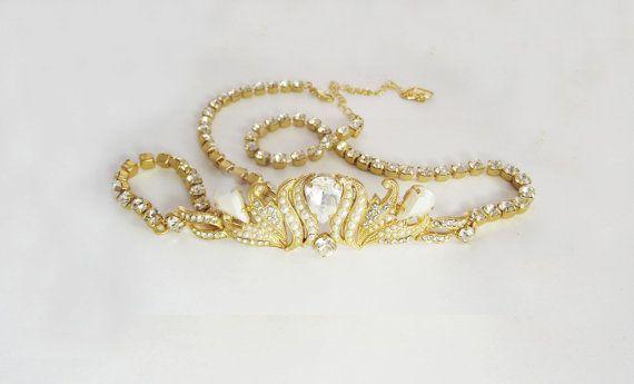 bridal wedding sash gold dress belt pearl