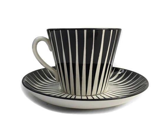Mid Century Modern Teacup and Saucer Set Upsala Ekeby Zebra