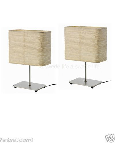 SET OF 2 IKEA Rice Paper Shade Table Lamp Desk Magnarp Modern FREE SHIP  Asian