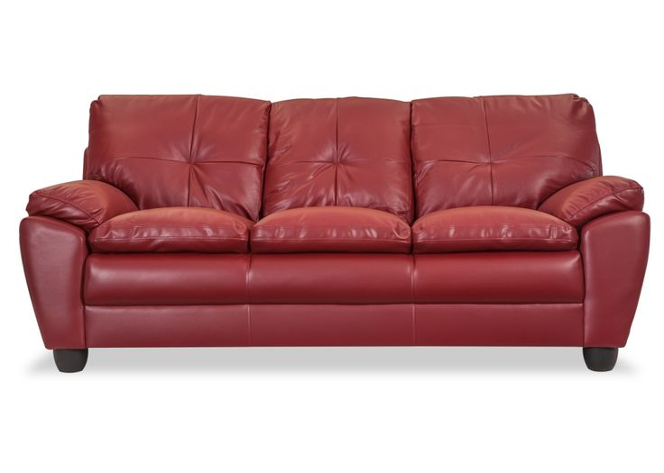 Herman Brick Red Leather Sofa - The sofa cushions are made of soft foam ensheathed in a Brick Red Leather upholstery that demands your complete attention. Visit Durian.in for more details!
