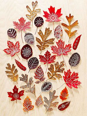 Autumn Art - Use beautiful fall leaves as canvases for doodle designs. Press colorful finds inside a heavy book for about 10 days, then draw on them with metallic paint markers. To add a bit more strength and shine, seal the finished leaves with Mod Podge.