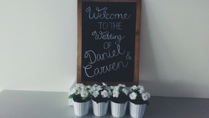 Self taught simple calligraphy to make this sign for the wedding church