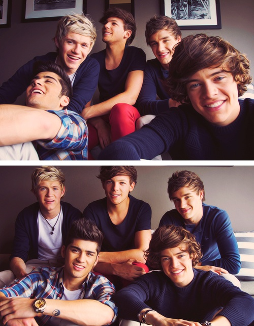 OMG. THEY LOOK SO HAPPY <3 :'D Zayn Malik, Niall Horan, Louis Tomlinson, Liam Payne, and Harry Styles <3 One Direction :3
