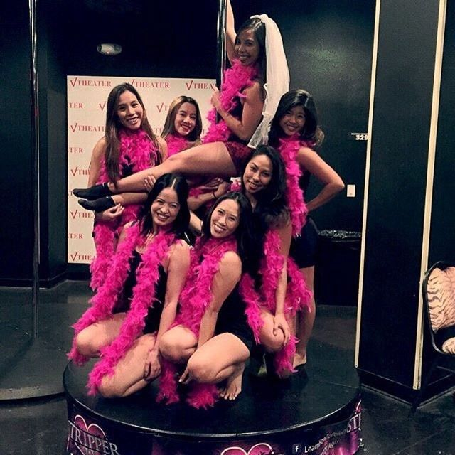 #Boas and #Stripper101? That has #UpToNoGood written all over it! wink emoticon {Thanks for tagging us on #Instagram @Victoriaaalynnn}  #PinkBoaGang #BacheloretteParty #GirlsNight #Vegas #PlanetHollywood #PoleDance #Stripper #Bachelorettes